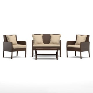 Portfolio Aldrich Brown 4-piece Wicker Indoor/Outdoor Seating Grouping