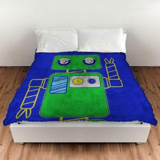 Neon Party Blue Robot Duvet Cover
