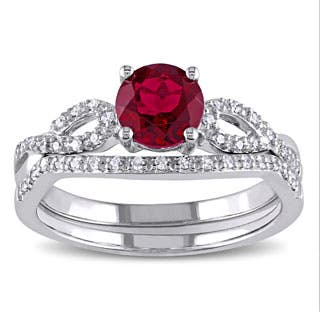 Miadora 10k White Gold Created Ruby And 1 6ct Tdw Diamond Bridal Ring Set
