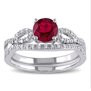 Miadora 10k White Gold Created Ruby And 1/6ct TDW Diamond Bridal Ring Set (