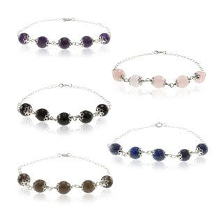 Sterling Silver Faceted Gemstone Bead Bracelet (Option: Pink)