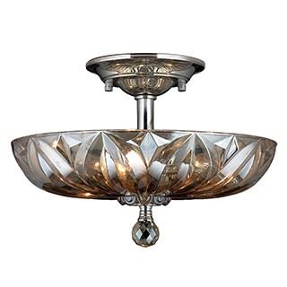 Sparkling 4-light Chrome Finish with Golden Teak Crystal Semi Flush Mount Ceiling-light