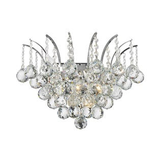 Empire 3-light Full Lead Crystal Chrome Finish Wall Sconce-light