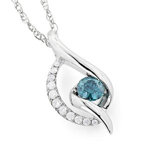 Luxurman 14k White Gold 1/3ct TDW Blue Diamond Necklace