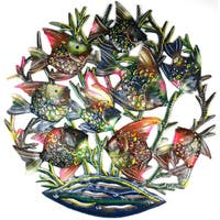 Handmade 24-inch Painted School of Fish Metal Wall Art (Haiti)