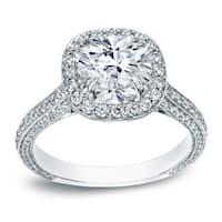 Auriya 18k White Gold 3ct TDW Certified Cushion Halo Pave Engagement Ring
