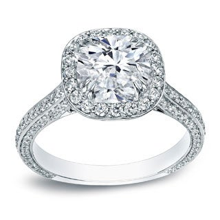 Auriya 18k White Gold 3ct TDW Certified Cushion Halo Pave Engagement Ring