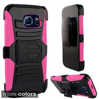 Insten Hard PC/ Silicone Dual-layer Hybrid Phone Case with Holster for Samsung Galaxy S6 Edge
