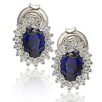 Suzy Levian Sterling Silver 18k Gold Gemstone Earrings