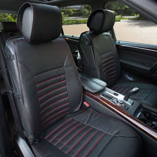 FH Group Black Multifunctional Quilted Leather Seat Cushion Pads Set Of 2
