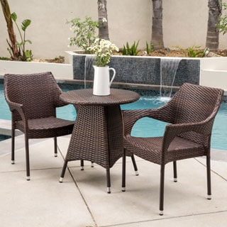 Christopher Knight Home Ceylon Outdoor 3-piece Wicker Bistro Set