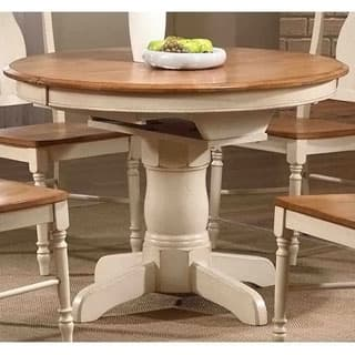 Iconic Furniture Antiqued Caramel/ Biscotti Round Dining Table