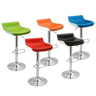 Adjustable Glossy Swivel Bar Counter Stools (Set of 2)