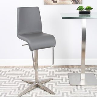 Lista Brushed Stainless Steel Flat Base Adjustable Height Swivel Bar Stool