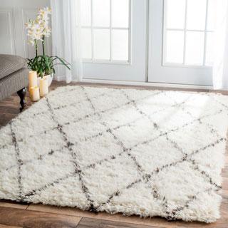 nuLOOM Handmade Plush Moroccan Trellis Wool Shag Rug (10' x 14')