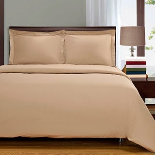Superior 300 Thread Count Percale Cotton Solid 3-piece Duvet Cover Set