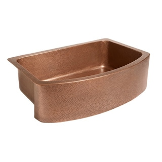 Sinkology Ernst Farmhouse Apron Bow Front Handmade Copper Sink 33 in. Single Bowl Kitchen Sink in Antique Copper