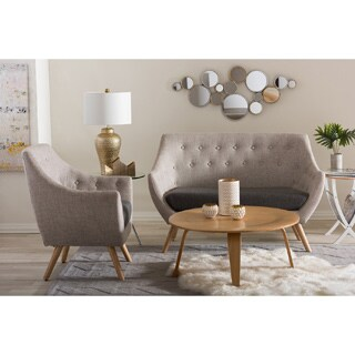 Baxton Studio Banner Mid-century Beige Fabric Upholstered Armchair and Loveseat Set