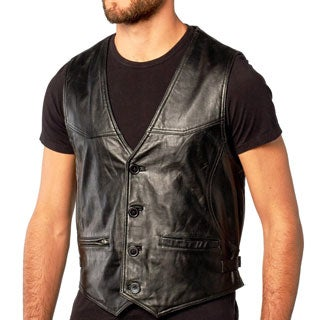 Men's Soft Black Button Front Leather Lambskin Vest