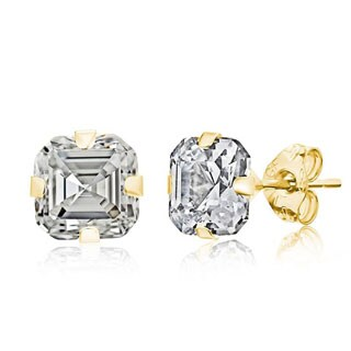 Pori 14k Yellow Gold 6mm Asscher-cut Cubic Zirconia Stud Earrings