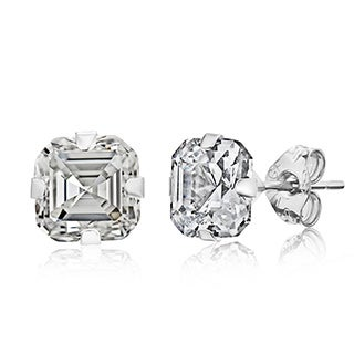 Pori 14k White Gold 6mm Asscher-cut Cubic Zirconia Stud Earrings