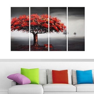 DesignArt Handpainted Oil Painting on Canvas 'Never Quit' Tree Oil Painting (48x32 - 4 Panels)