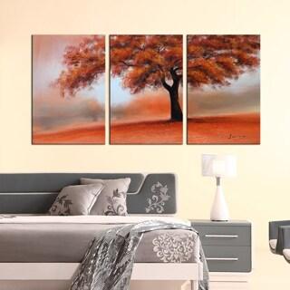 Design Art 'Standing Alone' Landscape Oil Painting (3 Panels)