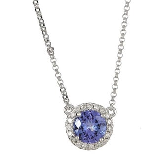 Anika and August 14k White Gold Round-cut Tanzanite 1/6ct TDW Diamond Necklace (G-H, I1-I2)