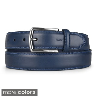designer belt sale men 25jq  Nautica Men's Genuine Leather Double Stitched Belt