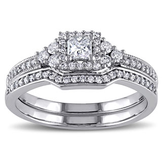 Miadora Signature Collection 14k White Gold 5/8ct TDW Princess-cut Diamond Certified Bridal Ring Set