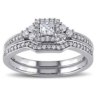 Miadora Signature Collection 14k White Gold 5/8ct TDW Princess-cut Diamond Certified Bridal Ring Set