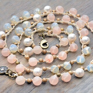 Sweet Romance Summer Beach Crystal Bead Layering Necklace