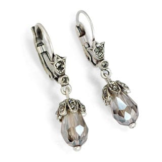 Sweet Romance Art Deco Vintage Crystal Teardrop Earrings