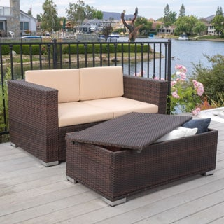 Murano Outdoor 2-piece Aluminum Chat Set with Cushions by Christopher Knight Home