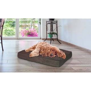 Furhaven Deluxe Terry and Suede Memory Foam Pet Bed