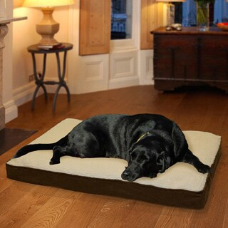 FurHaven Faux Sheepskin and Suede Deluxe Memory-top Pet Bed (More options available)