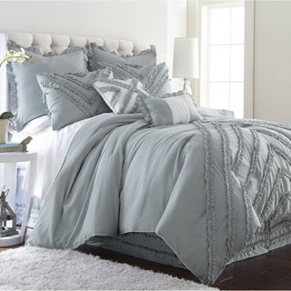 Amraupur Overseas Julianne 8-piece Grey Ruffles Comforter Set