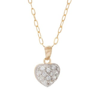 Pori Solid Gold Heart Pave Cubic Zirconia Necklace