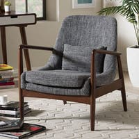 Baxton Studio Dixon Mid-century Modern Grey Fabric Upholstered Lounge Chair