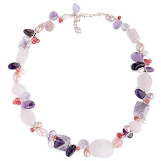 Silver 'Lilac Whisper' Pearl Multi-gemstone Necklace (10mm) (Thailand)