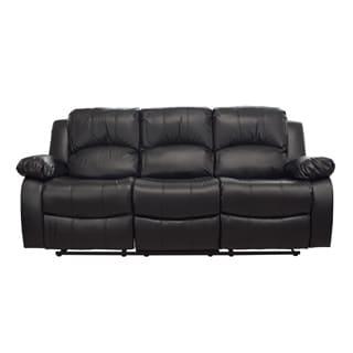 LYKE Home Kayla Black Bonded Leather Sofa