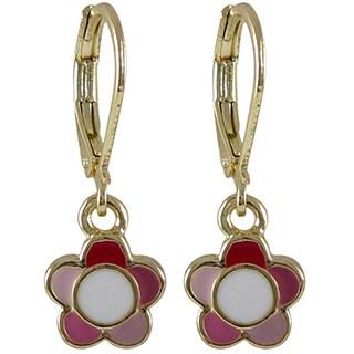 Luxiro Gold Finish Children's Multi-color Enamel Flower Leverback Dangle Earrings (2 options available)