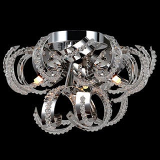 Metro Candelabra 9-light Chrome Finish and Crystal Ribbon 12-inch Flush Mount Ceiling Light