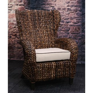 Somette Rattan Indoor/ Outdoor Sloped Arm Wingback Club Chair