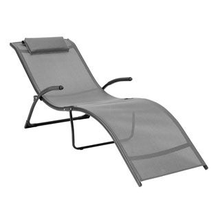 CorLiving PJR-429-R Riverside Black/ Silver Grey Folding Reclined Lounger
