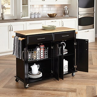 Gracewood Hollow Defoe Black Wood with Natural Wood Top Kitchen Island Cart