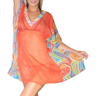 La Leela Super Lightweight Chiffon Beach Swimsuit Bikini Cover up Kaftan Dress Orange