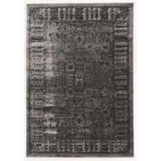 Linon Platinum Collection Isphanan Grey/Black Persian Modified Polyester Area Rug (5' x 7'6-inch)