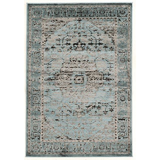 Linon Platinum Collection Heriz Blue/Black Persian Modified Polyester Area Rug (8' x 11') (Overst