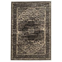Linon Platinum Collection Heriz Grey/Black Persian Modified Polyester Area Rug (8' x 11') (Overst
